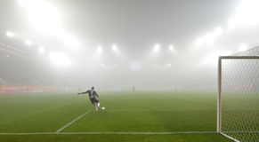 Match  in the strong fog. Royalty Free Stock Photography