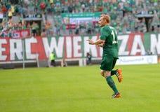 Match T-Mobile Ekstraklasa mellan Wks Slask Wroclaw och Ruch Chorzow Sebastian Mila efter ställning Arkivfoto