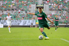 Match T-Mobile Ekstraklasa between Wks Slask Wroclaw and Ruch Chorzow. Cross ball by Robert Pich Royalty Free Stock Photo