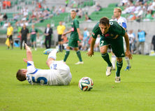Match T-Mobile Ekstraklasa between Wks Slask Wroclaw and Ruch Chorzow. Dudu in hard tackle Stock Image
