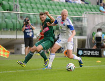 Match T-Mobile Ekstraklasa between Wks Slask Wroclaw and Ruch Chorzow. Marek Szyndrowski fighting Royalty Free Stock Images