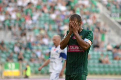 Match T-Mobile Ekstraklasa between Wks Slask Wroclaw and Ruch Chorzow. Miss by Flavio Paixao Royalty Free Stock Photos