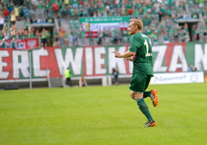Match T-Mobile Ekstraklasa between Wks Slask Wroclaw and Ruch Chorzow. Sebastian Mila after score Stock Photo