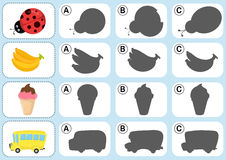 Match The Shadow - Worksheet For Education Stock Image