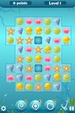 Match Three Game Interface for Underwater World. Vector match three game interface with background, bonuses - swirl, bomb, pointing and settings, score Royalty Free Stock Photo