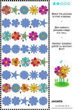 Match to shadow flowerheads rows visual puzzle Royalty Free Stock Images