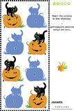 Match to shadow game - pumpkin and cat. Halloween themed visual puzzle or picture riddle: Match the pictures of pumpkins and black cats to their shadows. Answer stock illustration