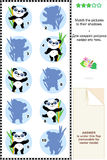 Match to shadow visial puzzle - panda bears Stock Photos