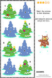 Match to shadow visual puzzle - christmas trees Stock Image