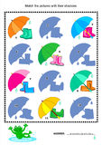 Match to shadow visual puzzle - gumboots, umbrella Royalty Free Stock Images