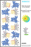 Match to shadow visual puzzle - mice and cheese Royalty Free Stock Images