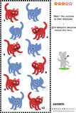 Match to shadow visual puzzle - red cats Stock Photography