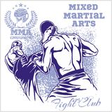 Match two fighters of martial mixed arts Stock Images