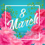 8 Match Women Day Greeting card Stock Photography
