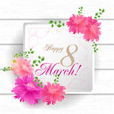 8 Match Women Day Greeting card Royalty Free Stock Photos