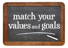 Match your values and goals. Inspirational advice on a vintage slate blackboard Royalty Free Stock Photos