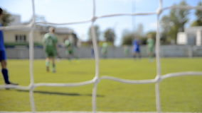 Match of a youth soccer team stock footage