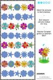 Match, zum des flowerheads Reihen-Sichtbarmachungspuzzlespiels zu beschatten Lizenzfreie Stockbilder