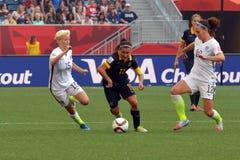 Match zwischen USA gegen Australien-Nationalmannschaften Weltcup FIFAS Women's Stockbilder