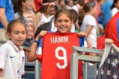 Match zwischen USA gegen Australien-Nationalmannschaften Weltcup FIFAS Women's Lizenzfreie Stockfotografie