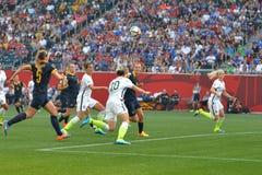 Match zwischen USA gegen Australien-Nationalmannschaften Weltcup FIFAS Women's Stockfotografie