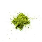 Matcha在白色背景的绿茶粉末 图库摄影