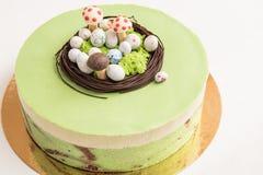 Matcha奶油甜点 免版税库存照片