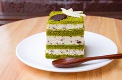 Matcha巧克力片蛋糕。 库存图片
