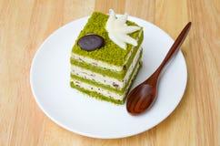 Matcha巧克力片蛋糕。 免版税库存照片