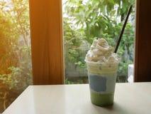 Matcha绿茶frappe 免版税库存图片