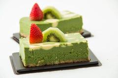 Matcha绿茶乳酪蛋糕 免版税库存照片
