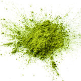 Matcha绿茶粉末特写镜头 库存图片
