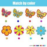 Matcha barn bildande lek, match vid färg stock illustrationer