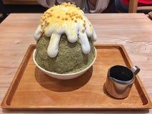 Matcha bingsu korean dessert. Matcha bingsu korean dessert at cafe Royalty Free Stock Images