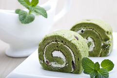 Matcha Cake Rolls Royalty Free Stock Images