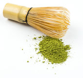 Matcha and chasen, tool for preparation Stock Photos