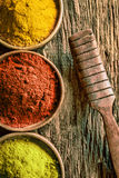 Matcha, chilli and curry spices Stock Photos