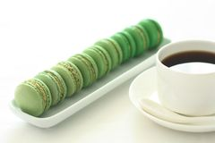 Matcha cocoa macarons. This is matcha Gradient macarons ,delicious teatime Stock Image