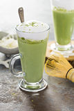 Matcha coconut latte in tall glasses Stock Photo