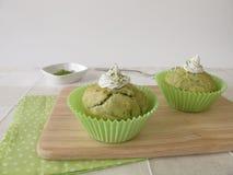 Matcha cupcakes Stock Photos