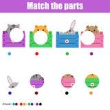 Matcha den bildande leken för barn Lurar aktivitet Matchdjurdelar Royaltyfria Foton