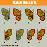 Matcha den bildande leken för barn med fjärilar stock illustrationer