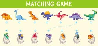 Matcha dinosaurienummerarbetssedeln royaltyfri illustrationer