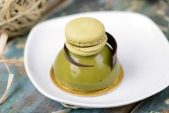 Matcha Dome with macaroon dessert Royalty Free Stock Images