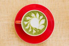Matcha Drink on Red Ceramic Bowl Royalty Free Stock Photo