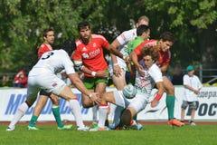 Matcha för stället 1 England vs Portugal i rugby 7 grand prixserie i Moskva Arkivfoto