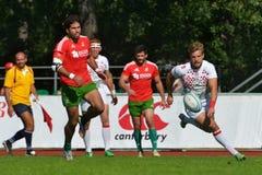 Matcha för stället 1 England vs Portugal i rugby 7 grand prixserie i Moskva Royaltyfria Bilder