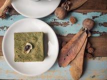 Matcha green tea brownie cake Stock Photos