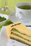 Matcha green tea cake Stock Photos