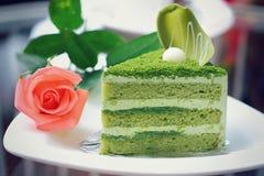 Matcha green tea cake Stock Photo